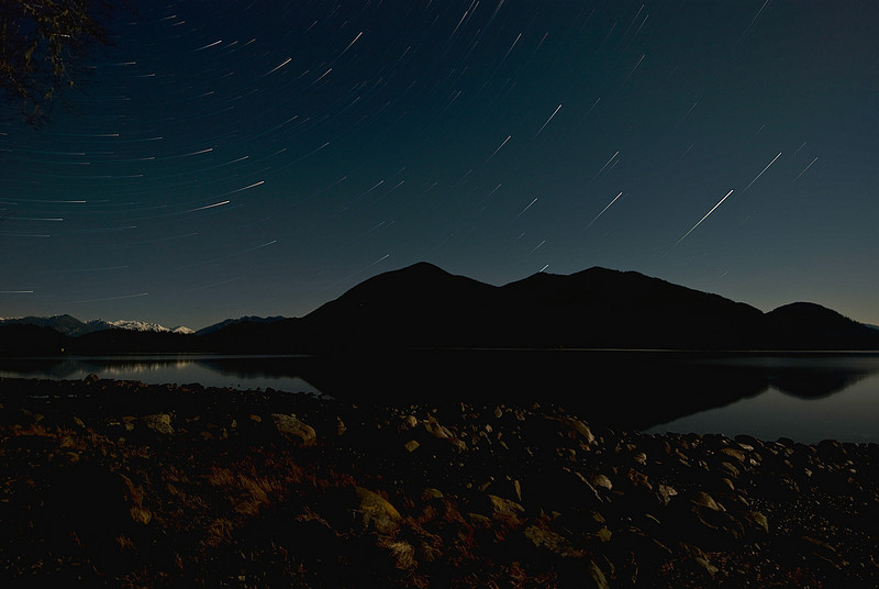 Star Trails over Meares Island.<br /> <br /> Tech:<br /> Camera | Nikon D80<br /> Lens | Nikkor 12-24mm<br /> Exposure | 125 exposures of 30sec;  f/4; ISO 200<br /> Filters: None